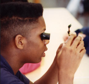 Student using a jeweler's loupe with Private Eye inquiry process